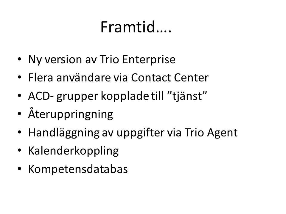 """Framtid…. Ny version av Trio Enterprise Flera användare via Contact Center ACD- grupper kopplade till """"tjänst"""" Återuppringning Handläggning av uppgift"""