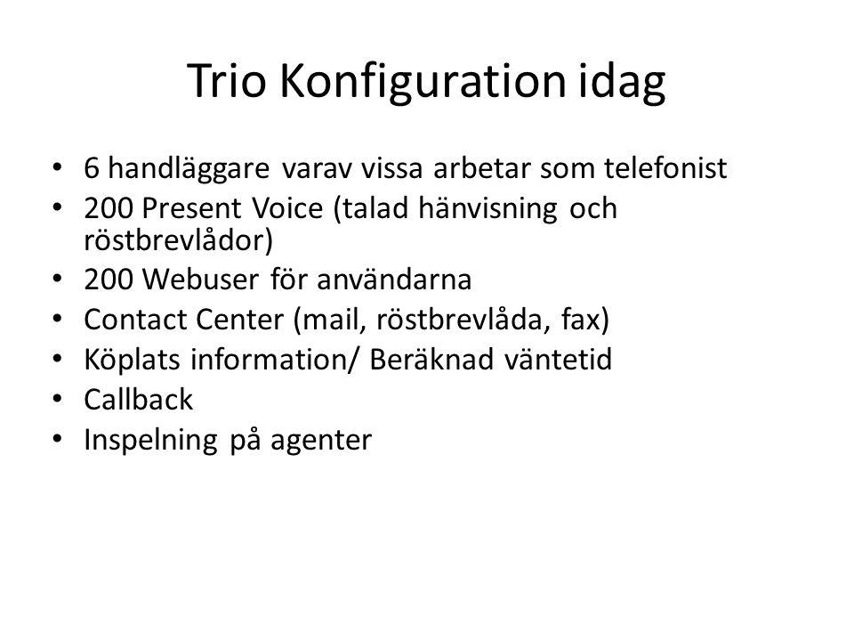 Trio Konfiguration idag 6 handläggare varav vissa arbetar som telefonist 200 Present Voice (talad hänvisning och röstbrevlådor) 200 Webuser för använd
