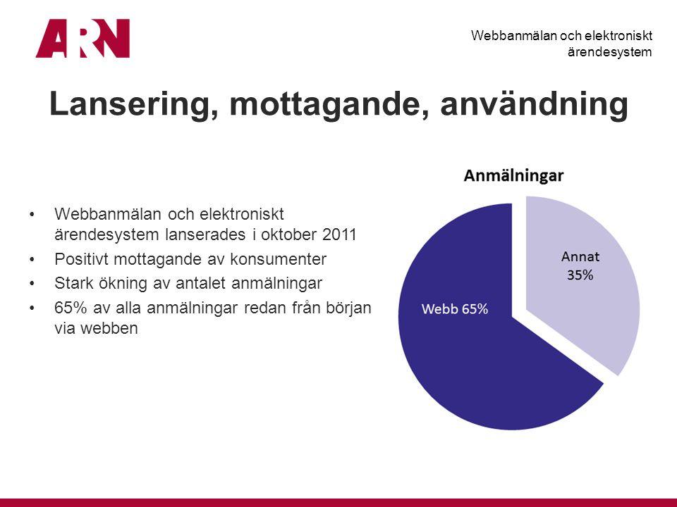 Lansering, mottagande, användning Webbanmälan och elektroniskt ärendesystem lanserades i oktober 2011 Positivt mottagande av konsumenter Stark ökning av antalet anmälningar 65% av alla anmälningar redan från början via webben Webbanmälan och elektroniskt ärendesystem