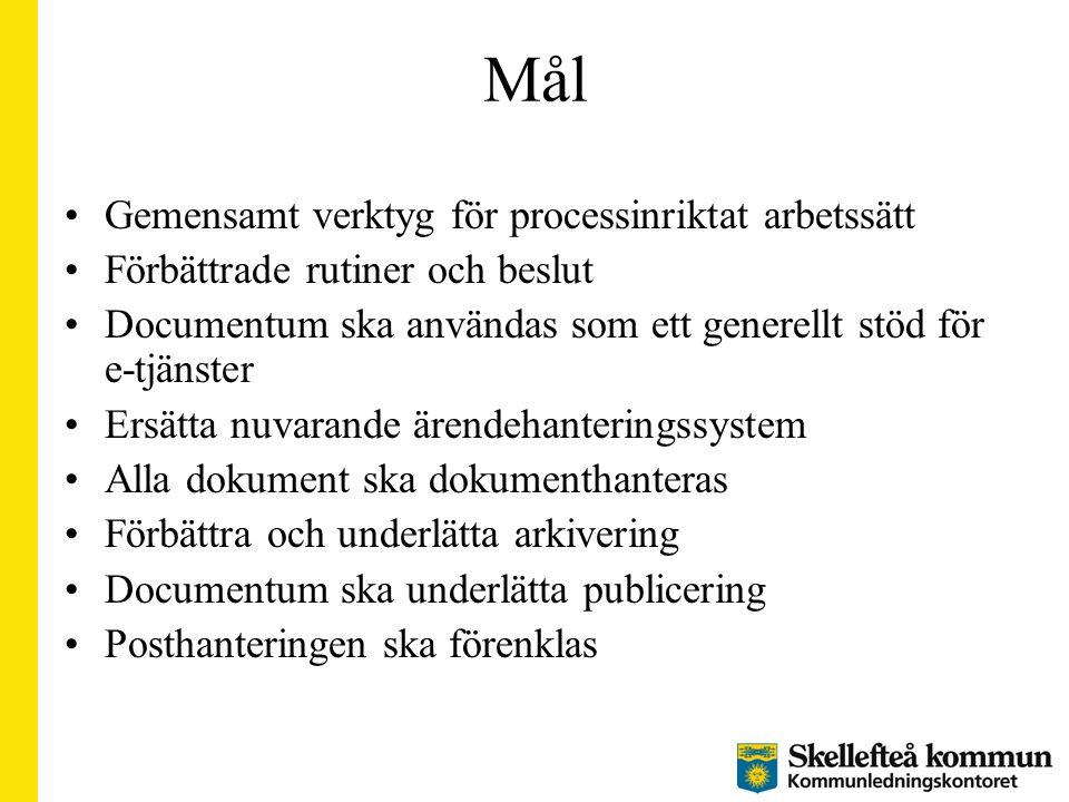 Mål Gemensamt verktyg för processinriktat arbetssätt Förbättrade rutiner och beslut Documentum ska användas som ett generellt stöd för e-tjänster Ersä