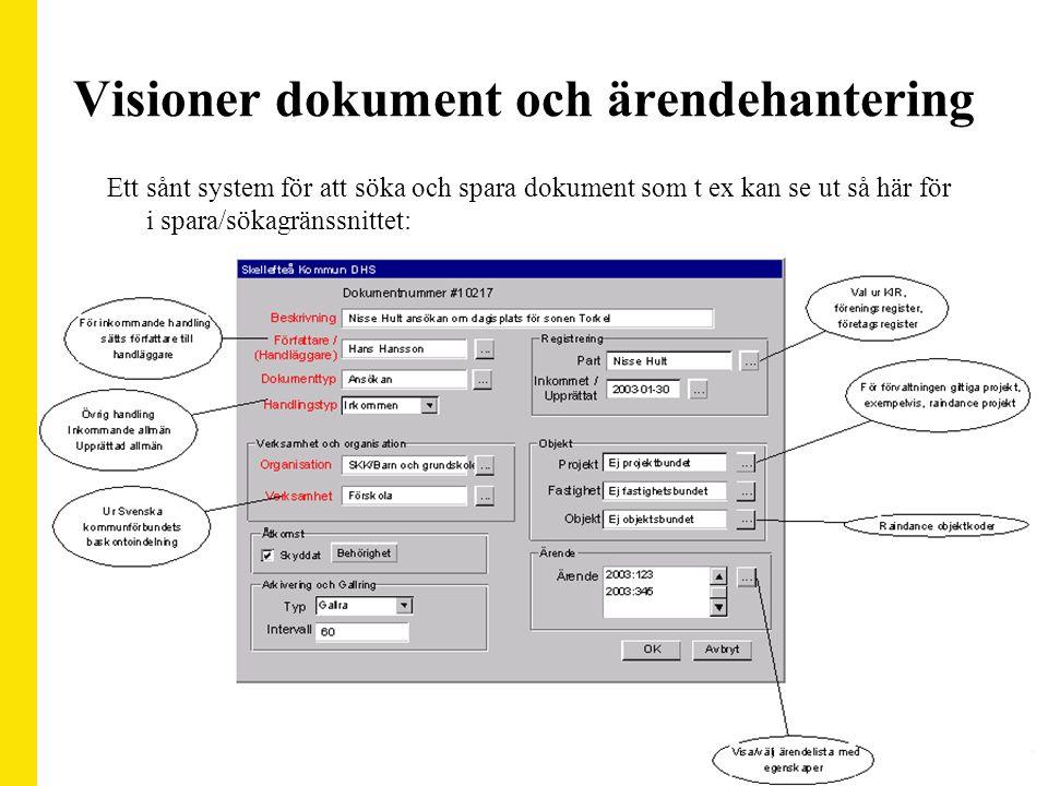 Visioner dokument och ärendehantering Ett sånt system för att söka och spara dokument som t ex kan se ut så här för i spara/sökagränssnittet: