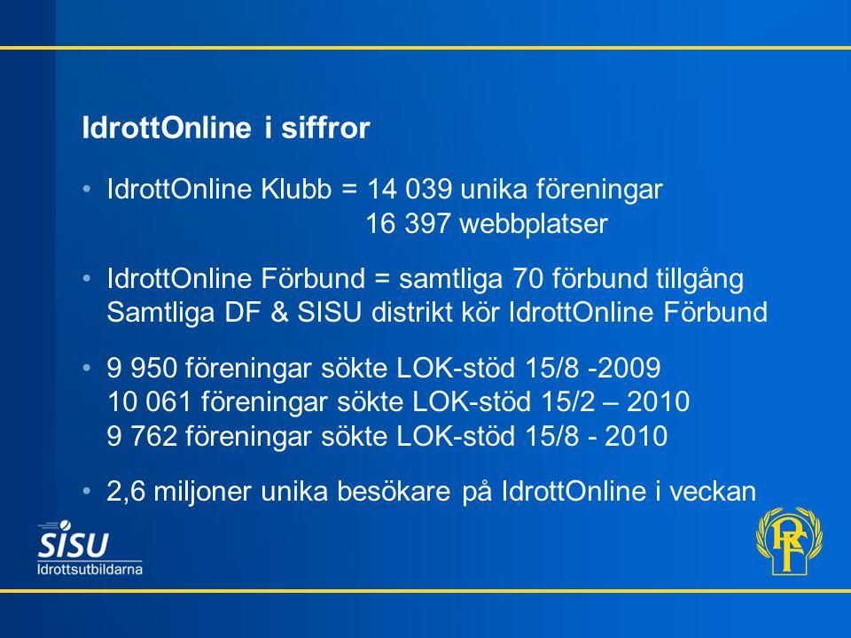 IdrottOnline i siffror IdrottOnline Klubb = 14 039 unika föreningar 16 397 webbplatser IdrottOnline Förbund = samtliga 70 förbund tillgång Samtliga DF