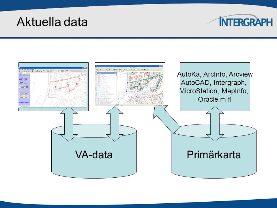 Aktuella data VA-dataPrimärkarta AutoKa, ArcInfo, Arcview AutoCAD, Intergraph, MicroStation, MapInfo, Oracle m fl