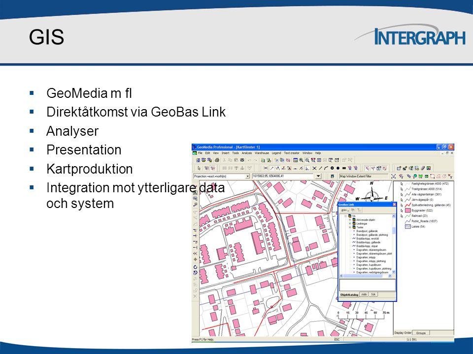GIS  GeoMedia m fl  Direktåtkomst via GeoBas Link  Analyser  Presentation  Kartproduktion  Integration mot ytterligare data och system