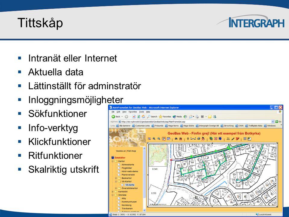 Tittskåp  Intranät eller Internet  Aktuella data  Lättinställt för adminstratör  Inloggningsmöjligheter  Sökfunktioner  Info-verktyg  Klickfunk