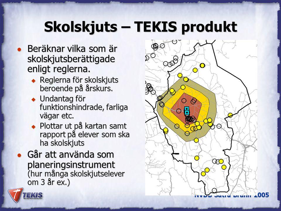NVDB Sätra Brunn 2005 Skolskjuts – TEKIS produkt l Beräknar vilka som är skolskjutsberättigade enligt reglerna.