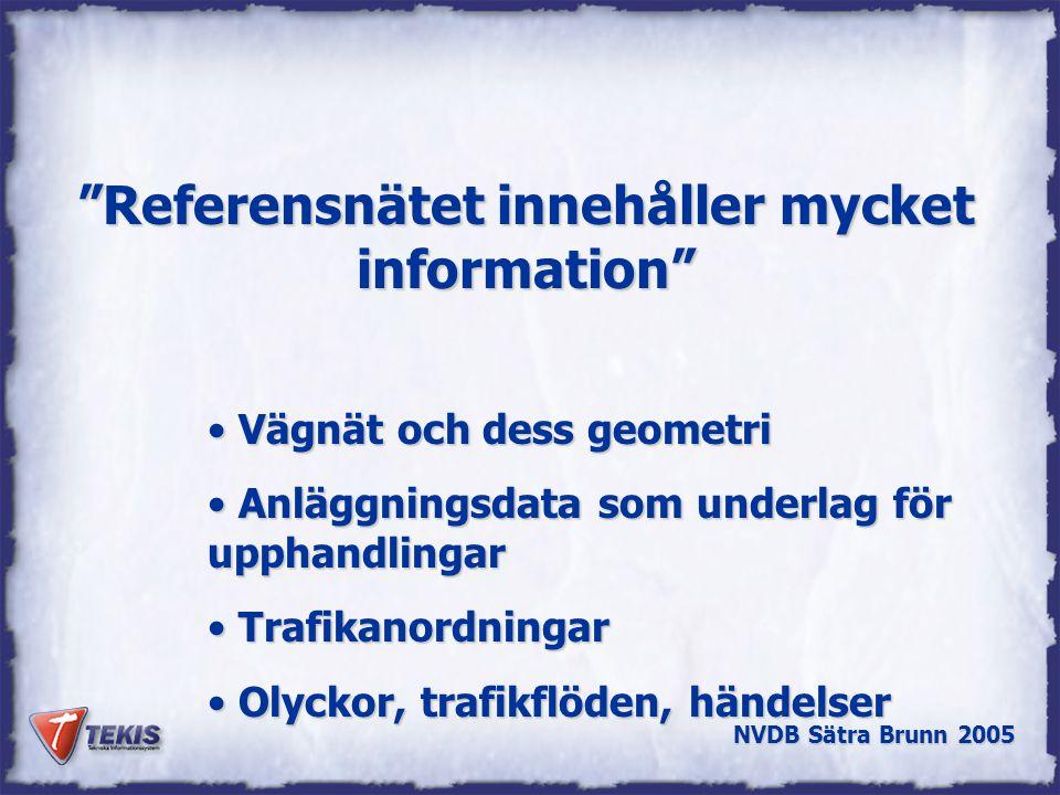 NVDB Sätra Brunn 2005 Referensnätet innehåller mycket information Vägnät och dess geometri Vägnät och dess geometri Anläggningsdata som underlag för upphandlingar Anläggningsdata som underlag för upphandlingar Trafikanordningar Trafikanordningar Olyckor, trafikflöden, händelser Olyckor, trafikflöden, händelser