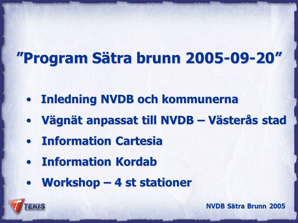 NVDB Sätra Brunn 2005 Lokal Vägdatabas l Lagring av kartdata/geodata i relationsdatabas l Data är åtkomligt för alla och från olika kart- och GIS-system Verksamhets-system GIS Kart-produktion Lokal Vägdatabas LV