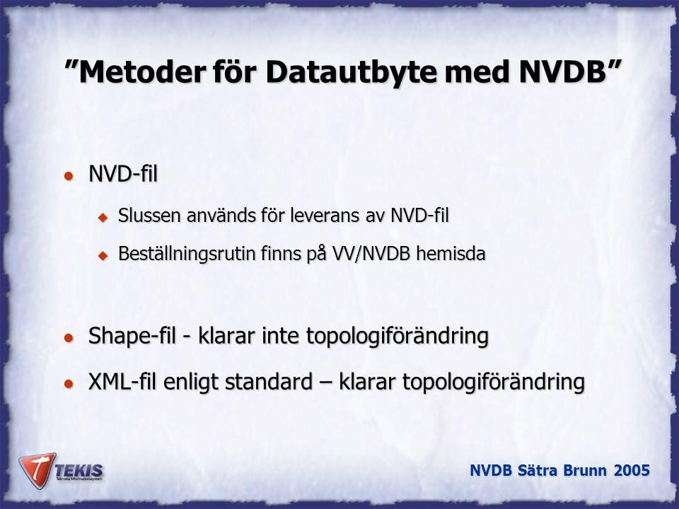 NVDB Sätra Brunn 2005 Metoder för Datautbyte med NVDB l NVD-fil u Slussen används för leverans av NVD-fil u Beställningsrutin finns på VV/NVDB hemisda l Shape-fil - klarar inte topologiförändring l XML-fil enligt standard – klarar topologiförändring
