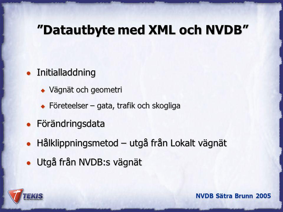 NVDB Sätra Brunn 2005 Datautbyte med XML och NVDB l Initialladdning u Vägnät och geometri u Företeelser – gata, trafik och skogliga l Förändringsdata l Hålklippningsmetod – utgå från Lokalt vägnät l Utgå från NVDB:s vägnät