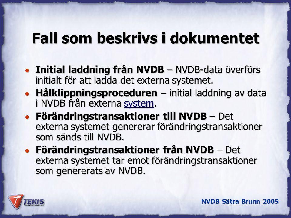 NVDB Sätra Brunn 2005 Fall som beskrivs i dokumentet l Initial laddning från NVDB – NVDB-data överförs initialt för att ladda det externa systemet.