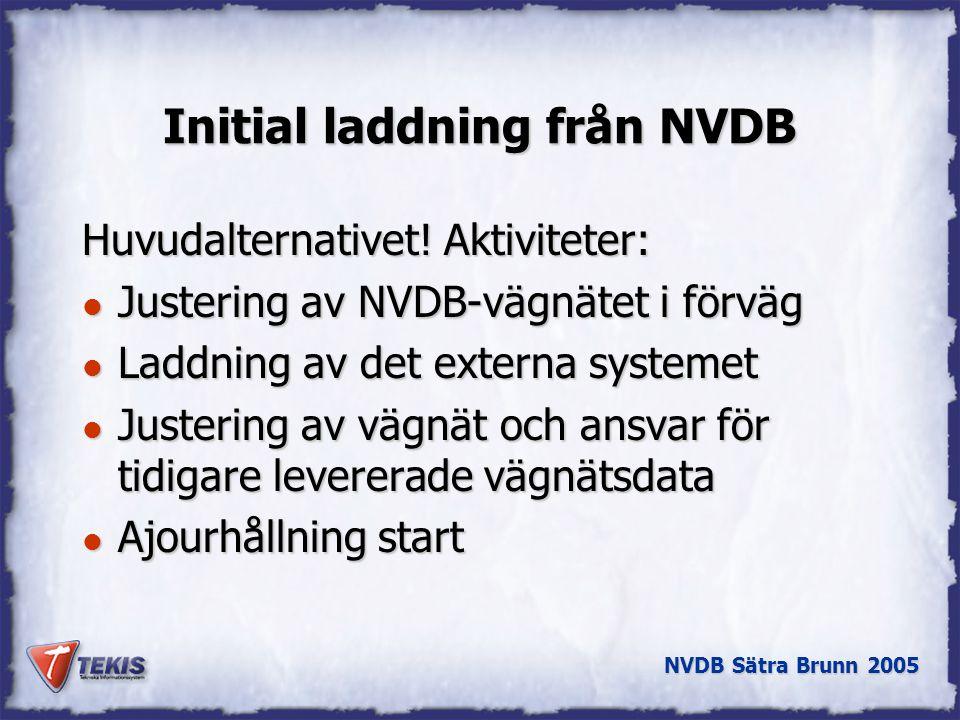 NVDB Sätra Brunn 2005 Initial laddning från NVDB Huvudalternativet.