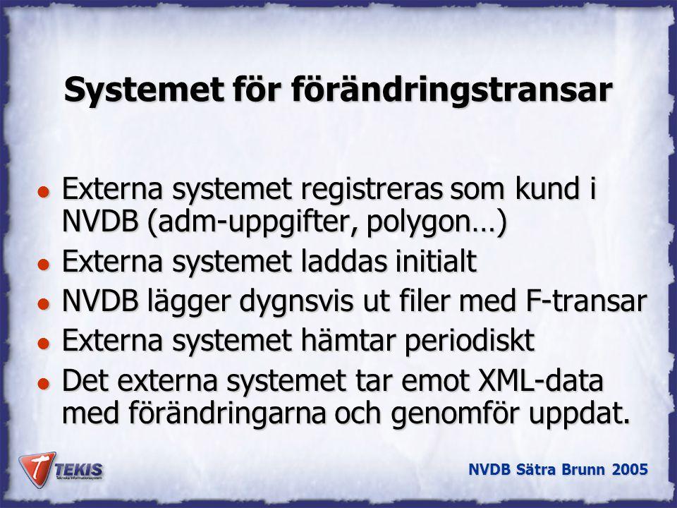 NVDB Sätra Brunn 2005 Systemet för förändringstransar l Externa systemet registreras som kund i NVDB (adm-uppgifter, polygon…) l Externa systemet laddas initialt l NVDB lägger dygnsvis ut filer med F-transar l Externa systemet hämtar periodiskt l Det externa systemet tar emot XML-data med förändringarna och genomför uppdat.