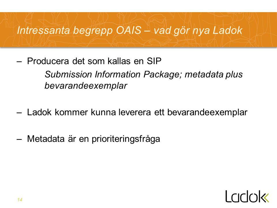 14 Intressanta begrepp OAIS – vad gör nya Ladok –Producera det som kallas en SIP Submission Information Package; metadata plus bevarandeexemplar –Lado