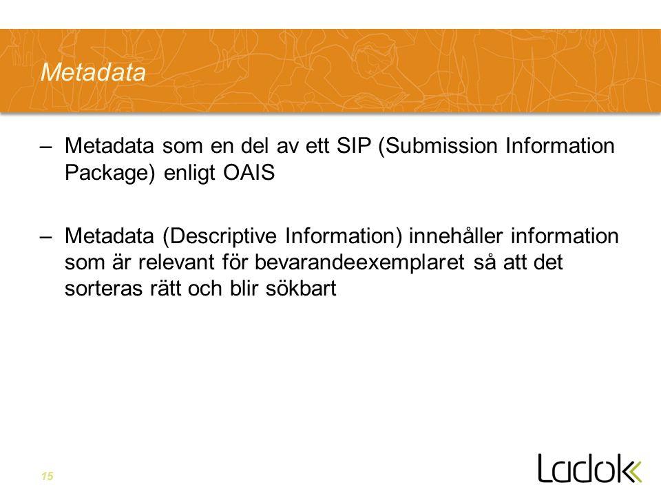 15 Metadata –Metadata som en del av ett SIP (Submission Information Package) enligt OAIS –Metadata (Descriptive Information) innehåller information so