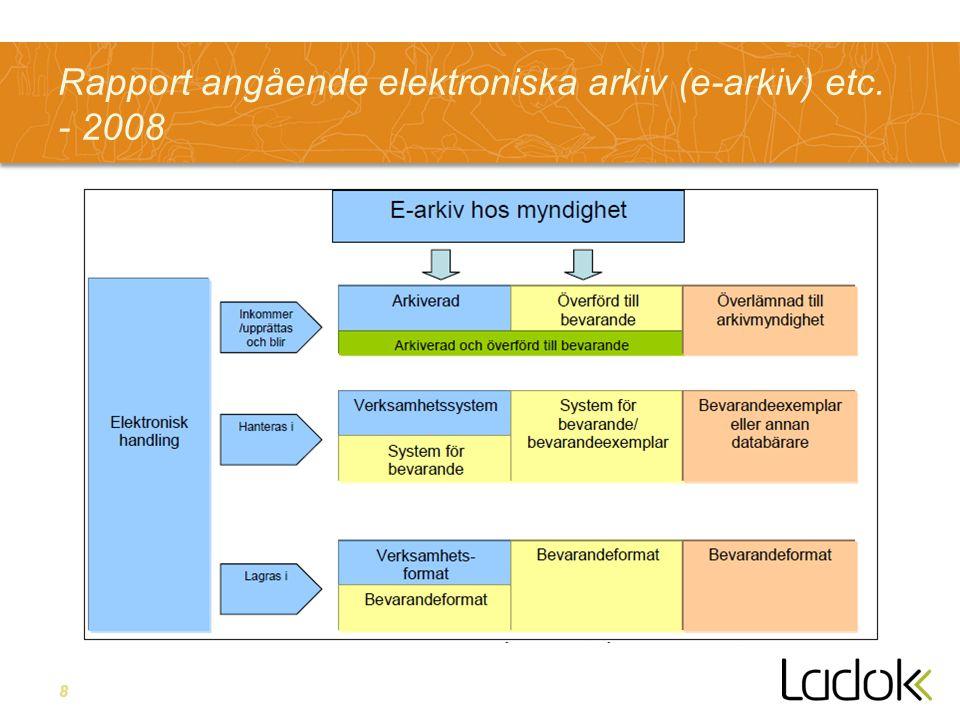 8 Rapport angående elektroniska arkiv (e-arkiv) etc. - 2008
