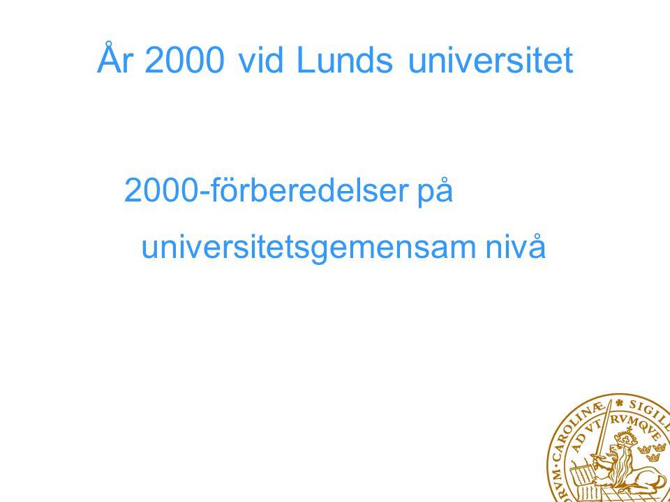 2000-förberedelser på universitetsgemensam nivå År 2000 vid Lunds universitet