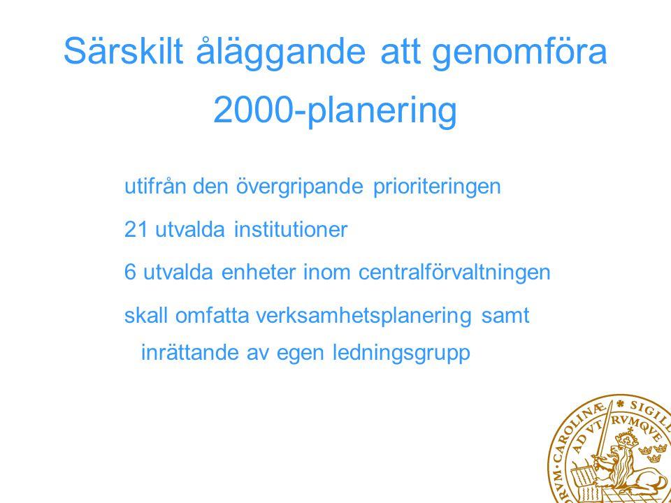 Särskilt åläggande att genomföra 2000-planering utifrån den övergripande prioriteringen 21 utvalda institutioner 6 utvalda enheter inom centralförvaltningen skall omfatta verksamhetsplanering samt inrättande av egen ledningsgrupp