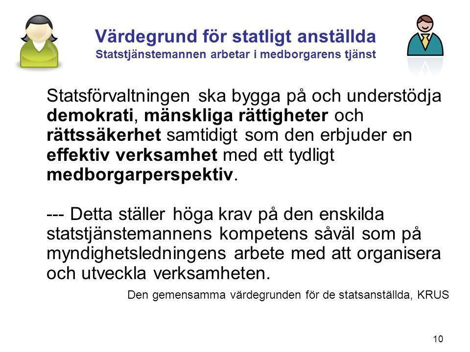 10 Värdegrund för statligt anställda Statstjänstemannen arbetar i medborgarens tjänst Statsförvaltningen ska bygga på och understödja demokrati, mänsk