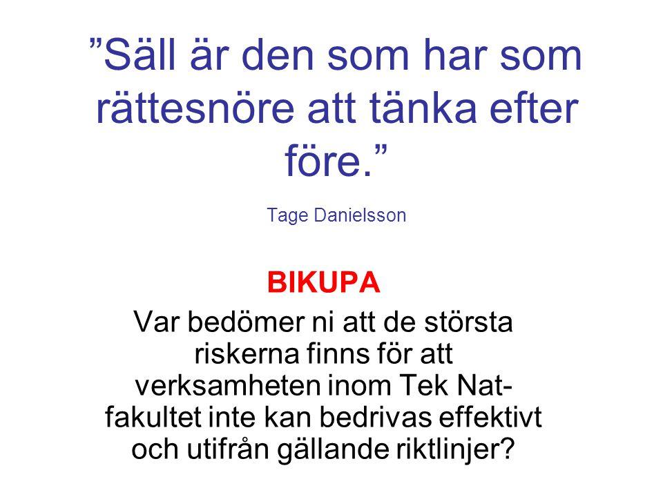 """""""Säll är den som har som rättesnöre att tänka efter före."""" Tage Danielsson BIKUPA Var bedömer ni att de största riskerna finns för att verksamheten in"""