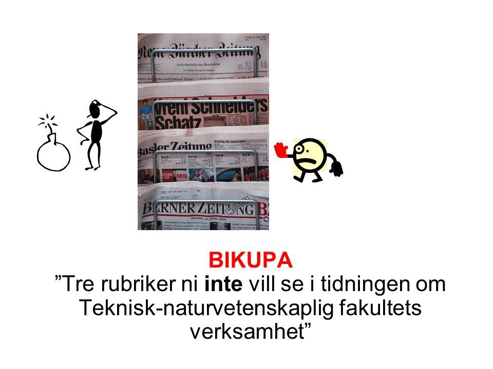 """BIKUPA """"Tre rubriker ni inte vill se i tidningen om Teknisk-naturvetenskaplig fakultets verksamhet"""""""
