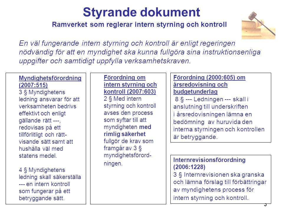 4 Styrande dokument Förordning (2007:603) om intern styrning och kontroll Den s k FISK:en kom 1 januari 2008 och innebar att kraven på svensk statsförvaltning avseende intern styrning och kontroll anpassades till kraven i näringslivet och till flera andra europeiska länders krav.