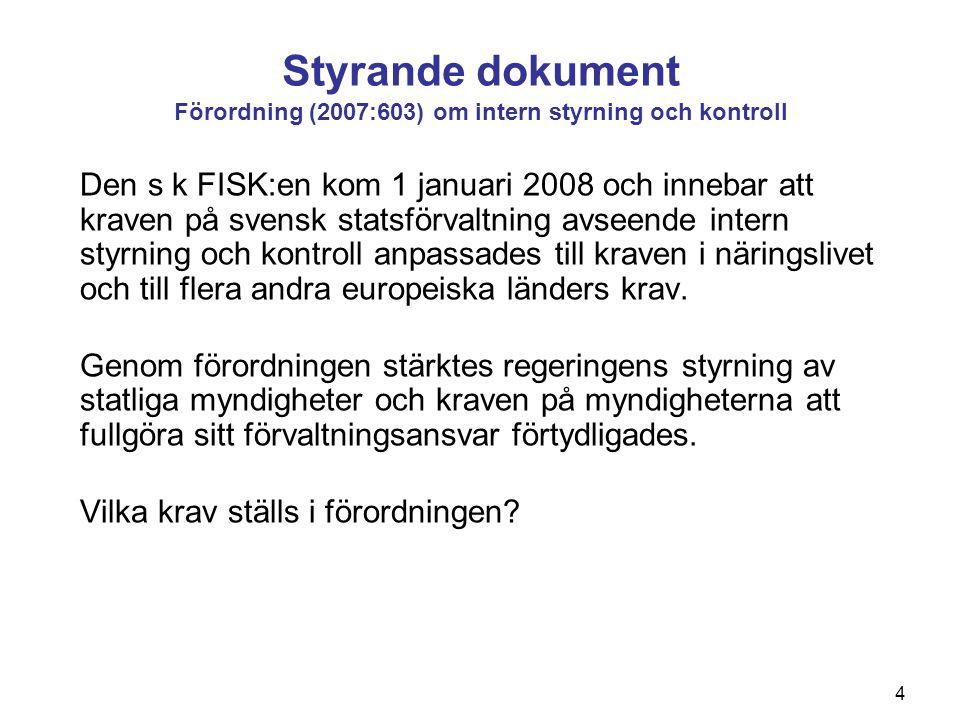 4 Styrande dokument Förordning (2007:603) om intern styrning och kontroll Den s k FISK:en kom 1 januari 2008 och innebar att kraven på svensk statsför