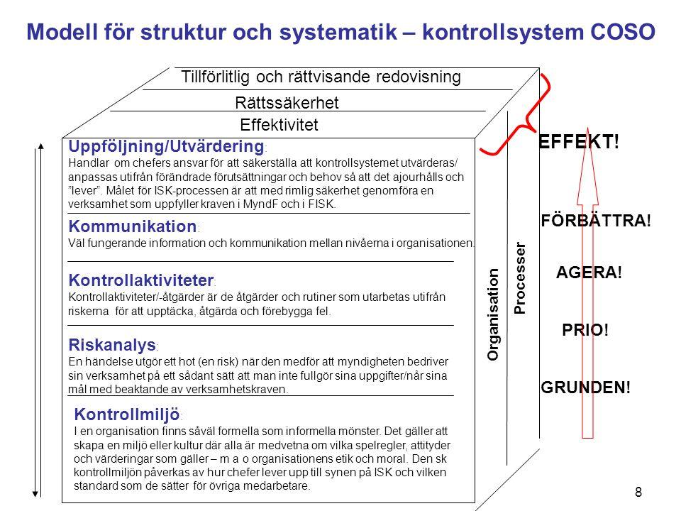8 Kontrollmiljö : I en organisation finns såväl formella som informella mönster. Det gäller att skapa en miljö eller kultur där alla är medvetna om vi
