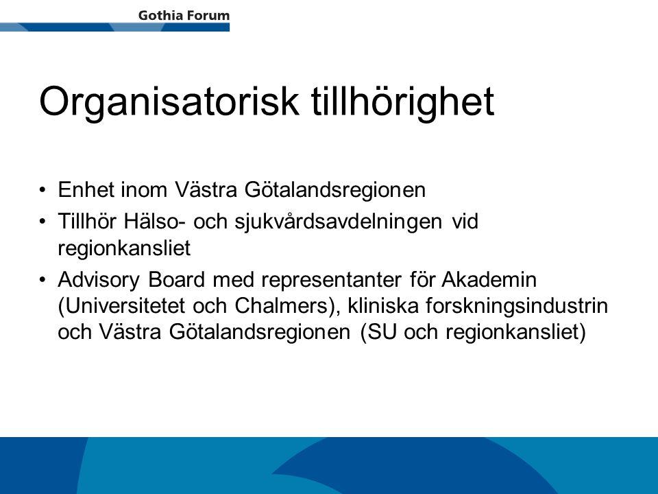 Generell titel Organisatorisk tillhörighet Enhet inom Västra Götalandsregionen Tillhör Hälso- och sjukvårdsavdelningen vid regionkansliet Advisory Boa