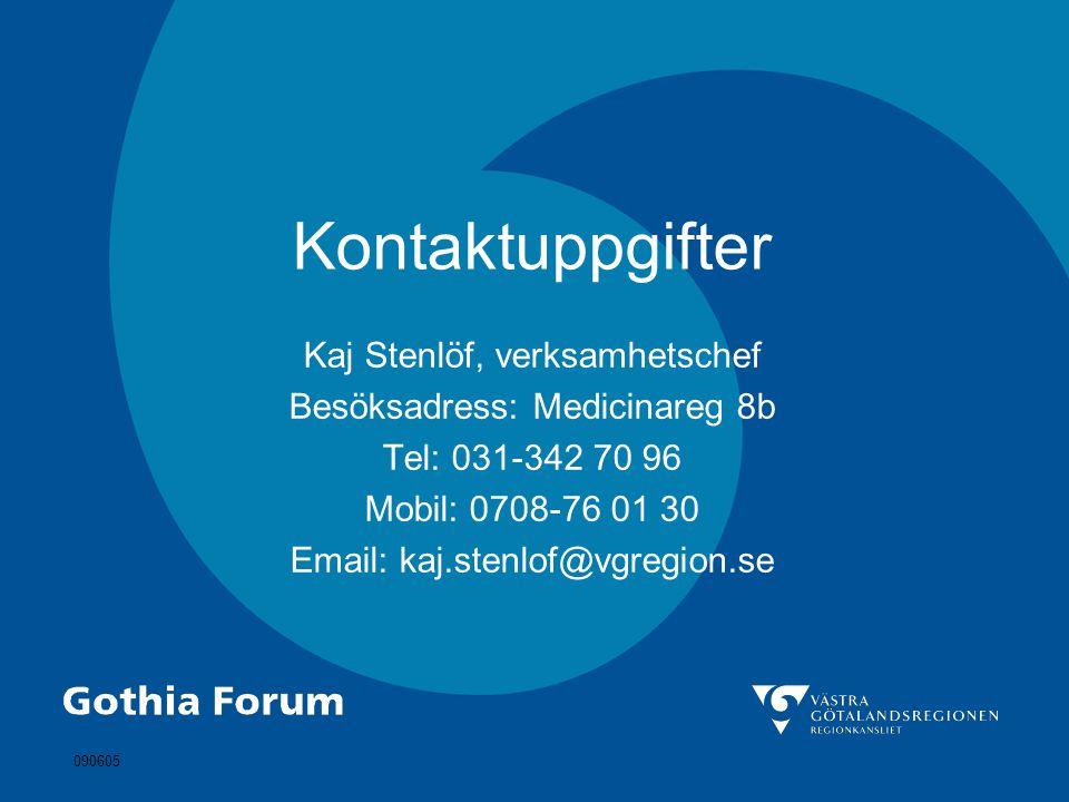 Kontaktuppgifter Kaj Stenlöf, verksamhetschef Besöksadress: Medicinareg 8b Tel: 031-342 70 96 Mobil: 0708-76 01 30 Email: kaj.stenlof@vgregion.se 0906