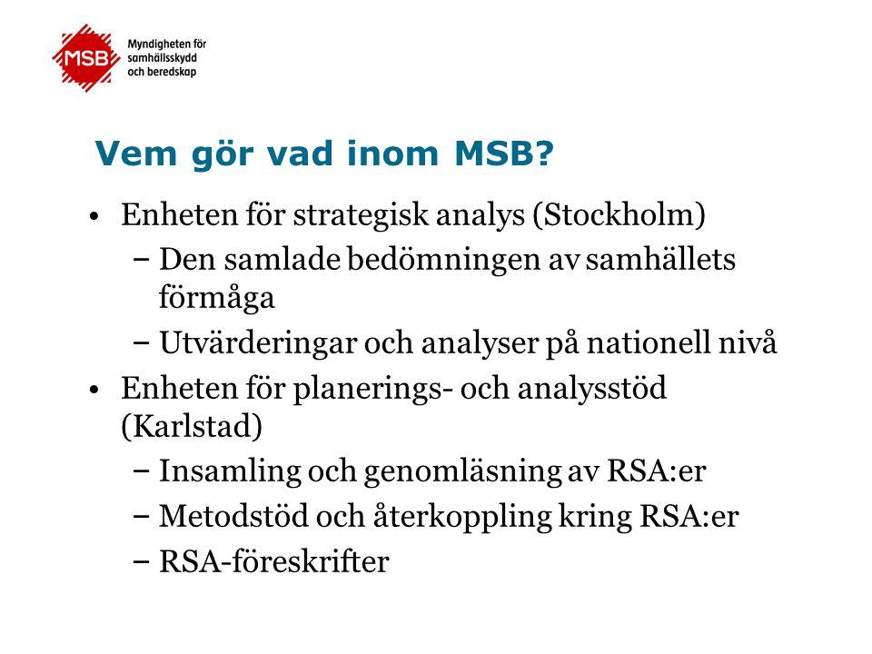 Vem gör vad inom MSB? Enheten för strategisk analys (Stockholm) – Den samlade bedömningen av samhällets förmåga – Utvärderingar och analyser på nation