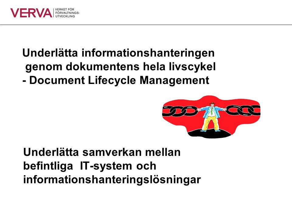Underlätta samverkan mellan befintliga IT-system och informationshanteringslösningar Underlätta informationshanteringen genom dokumentens hela livscyk