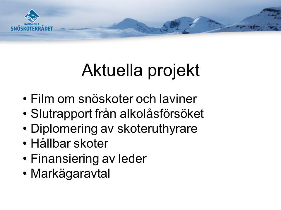 Aktuella projekt Film om snöskoter och laviner Slutrapport från alkolåsförsöket Diplomering av skoteruthyrare Hållbar skoter Finansiering av leder Markägaravtal