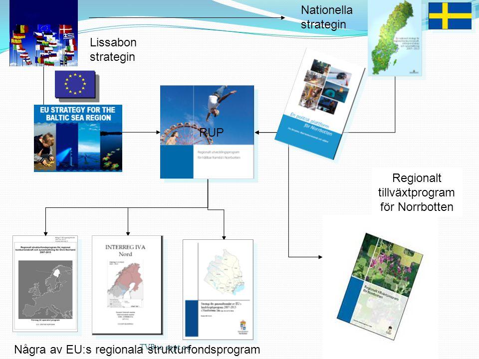 Några av EU:s regionala strukturfondsprogram Regionalt tillväxtprogram för Norrbotten Nationella strategin Lissabon strategin RUP