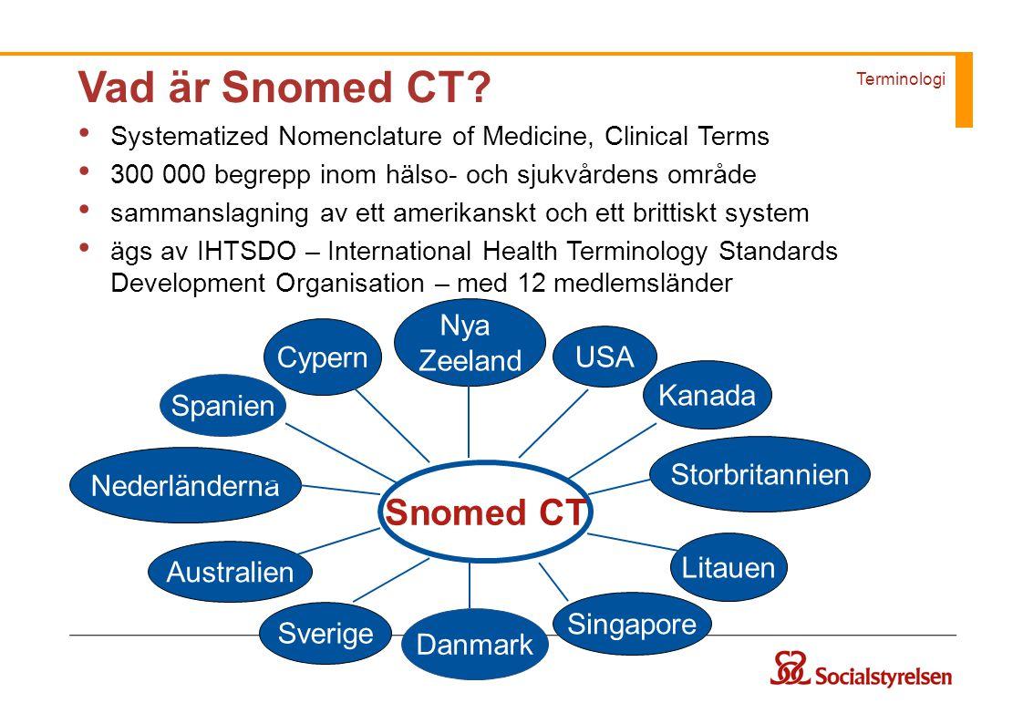 Terminologi Vad är Snomed CT? Systematized Nomenclature of Medicine, Clinical Terms 300 000 begrepp inom hälso- och sjukvårdens område sammanslagning