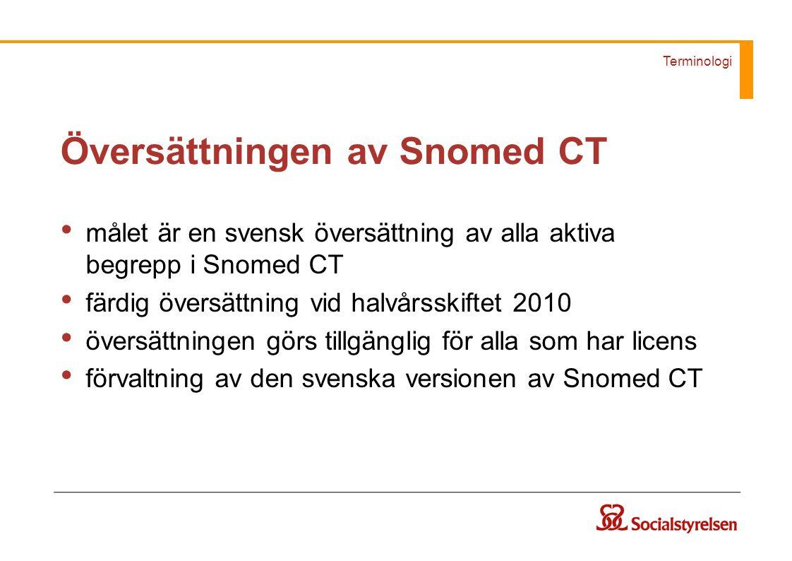 Terminologi Översättningen av Snomed CT målet är en svensk översättning av alla aktiva begrepp i Snomed CT färdig översättning vid halvårsskiftet 2010