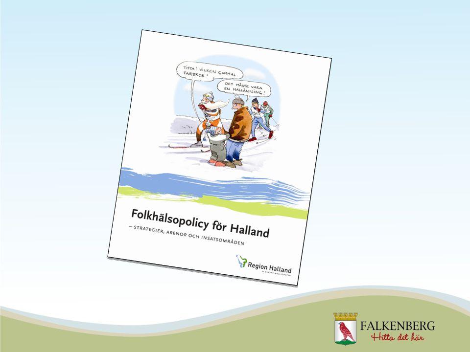 Folkhälsopolicyn för Halland Folkhälsopolicyn för Halland är antagen av landstingsfullmäktige och samtliga halländska kommuner När man skrev den halländska policyn tog man hänsyn till de nationella folkhälsomålen samt halländska förutsättningar Vägen till bättre folkhälsa i Falkenberg utgår 2010 Folkhälsopolicyn för Halland blir Falkenbergs styrdokument för folkhälsofrågor 2010-2014
