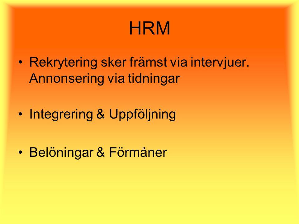 HRM Rekrytering sker främst via intervjuer.