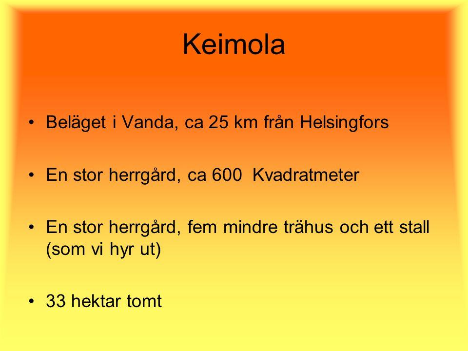 Keimola Beläget i Vanda, ca 25 km från Helsingfors En stor herrgård, ca 600 Kvadratmeter En stor herrgård, fem mindre trähus och ett stall (som vi hyr ut) 33 hektar tomt