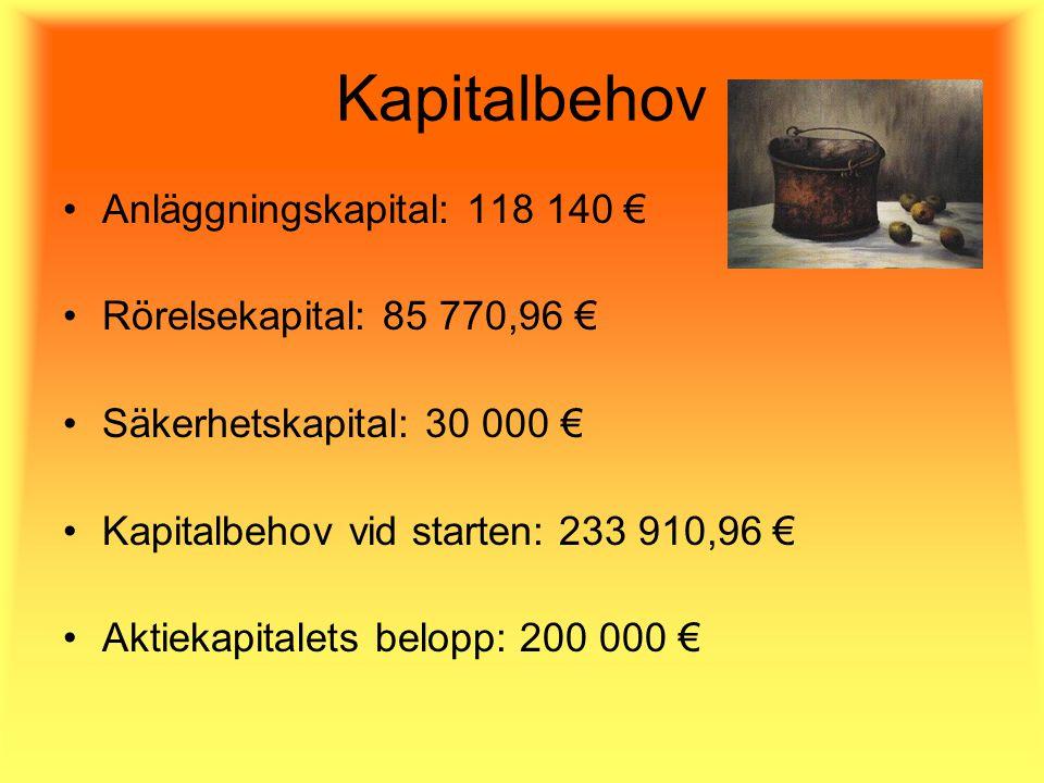 Kapitalbehov Anläggningskapital: 118 140 € Rörelsekapital: 85 770,96 € Säkerhetskapital: 30 000 € Kapitalbehov vid starten: 233 910,96 € Aktiekapitalets belopp: 200 000 €