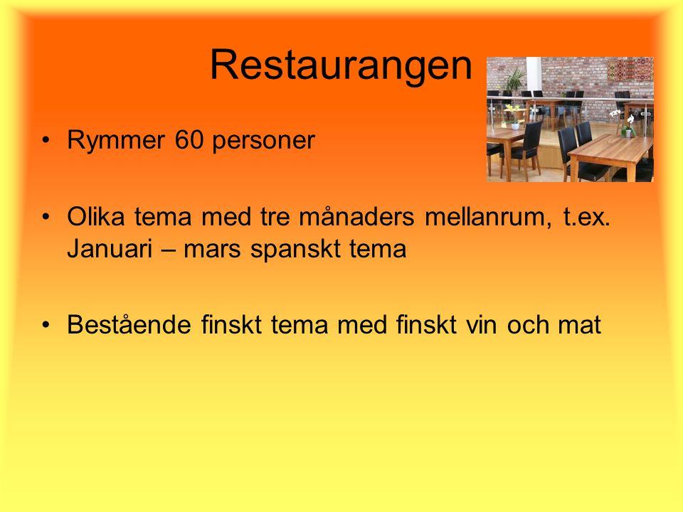 Restaurangen Rymmer 60 personer Olika tema med tre månaders mellanrum, t.ex.