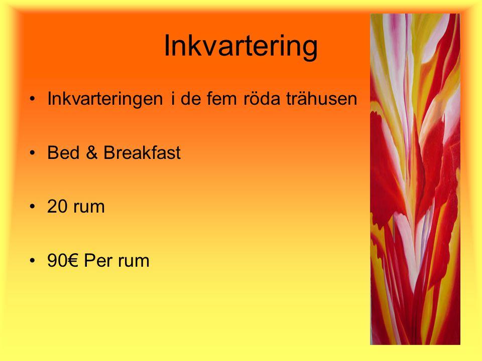Inkvartering Inkvarteringen i de fem röda trähusen Bed & Breakfast 20 rum 90€ Per rum