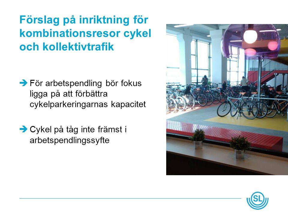 Förslag på inriktning för kombinationsresor cykel och kollektivtrafik  För arbetspendling bör fokus ligga på att förbättra cykelparkeringarnas kapacitet  Cykel på tåg inte främst i arbetspendlingssyfte