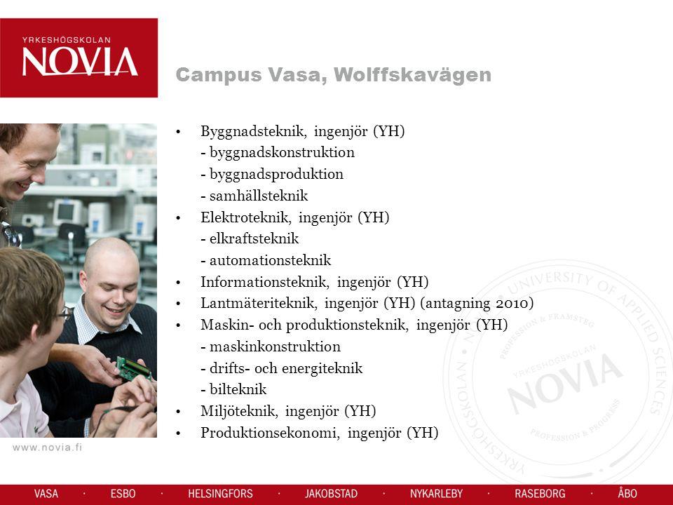 Campus Vasa, Wolffskavägen Byggnadsteknik, ingenjör (YH) - byggnadskonstruktion - byggnadsproduktion - samhällsteknik Elektroteknik, ingenjör (YH) - elkraftsteknik - automationsteknik Informationsteknik, ingenjör (YH) Lantmäteriteknik, ingenjör (YH) (antagning 2010) Maskin- och produktionsteknik, ingenjör (YH) - maskinkonstruktion - drifts- och energiteknik - bilteknik Miljöteknik, ingenjör (YH) Produktionsekonomi, ingenjör (YH)