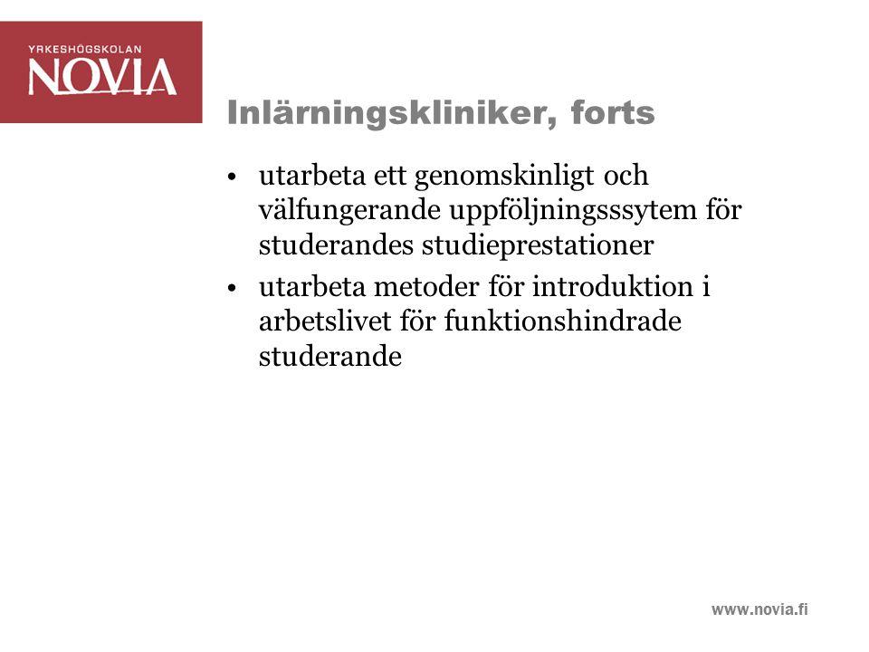 www.novia.fi Tillgänglighetskoordinator Anställs för tiden 4/2009-12/2010 20 h/vecka Utvecklar och prövar arbetsmetoder och modeller för inlärningskliniken Utvecklar en plattform på Moodle om tillgänglighetsfrågor Utarbetar information om tillgänglighet som publiceras på hemsidan