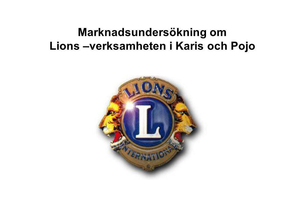 Marknadsundersökning om Lions –verksamheten i Karis och Pojo
