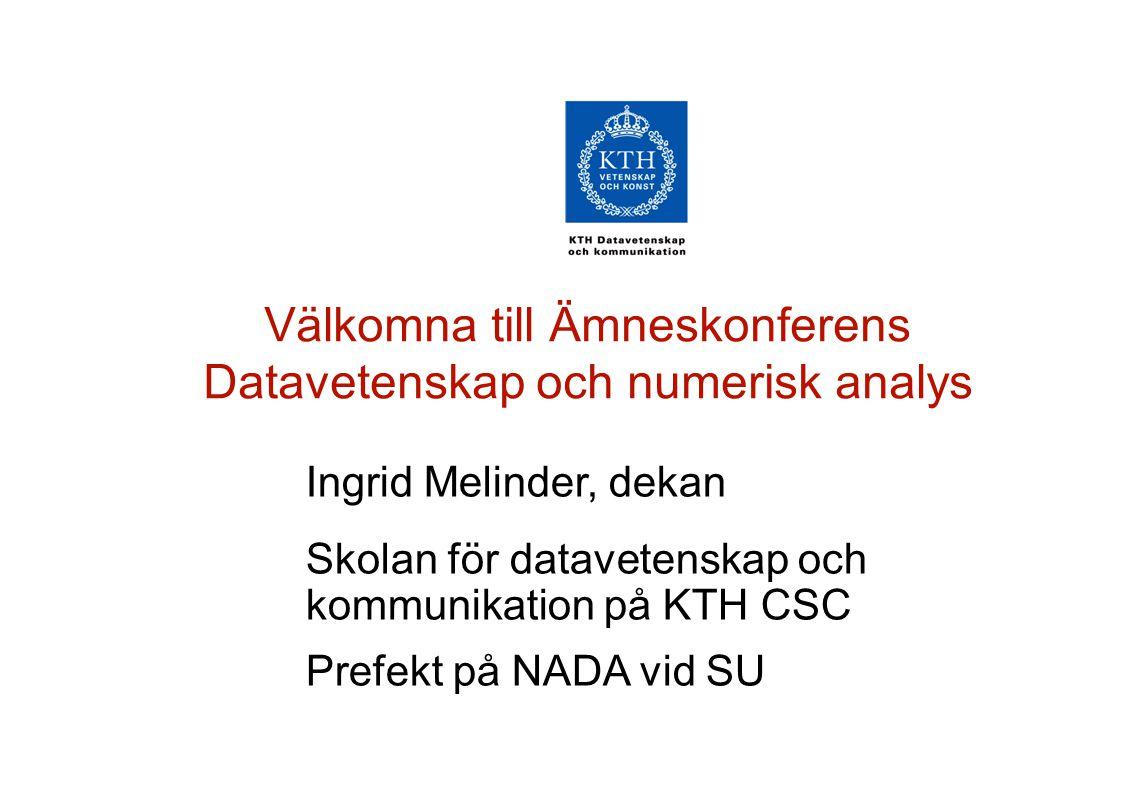 Ingrid Melinder, dekan Skolan för datavetenskap och kommunikation på KTH CSC Prefekt på NADA vid SU Välkomna till Ämneskonferens Datavetenskap och numerisk analys