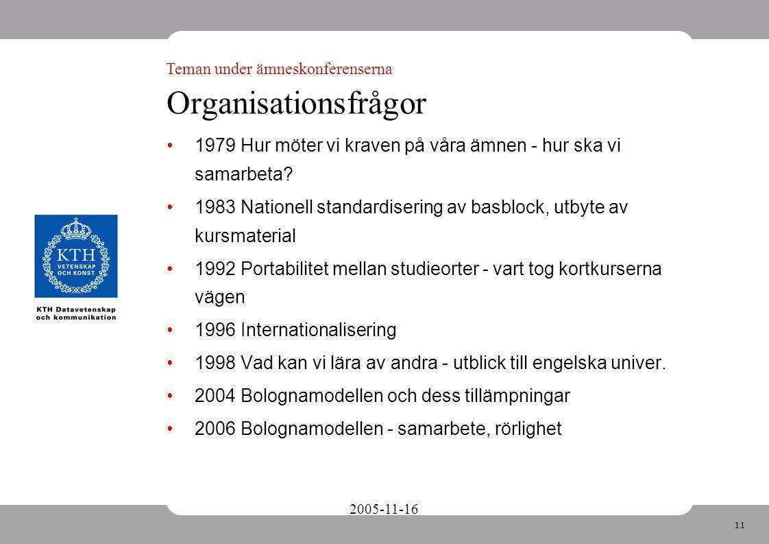 11 2005-11-16 Organisationsfrågor 1979 Hur möter vi kraven på våra ämnen - hur ska vi samarbeta.