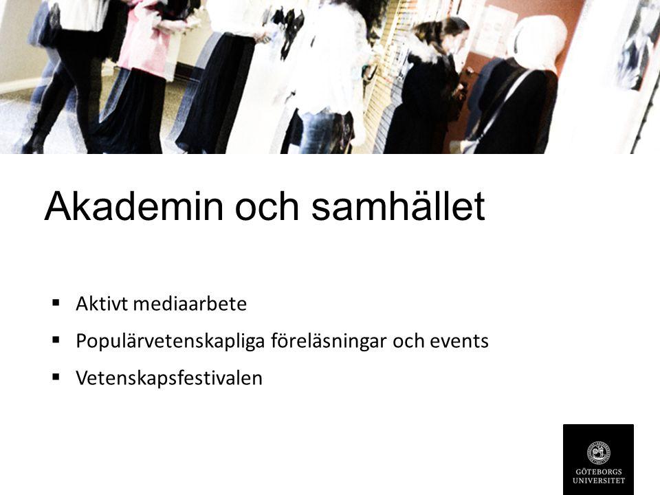 Akademin och samhället  Aktivt mediaarbete  Populärvetenskapliga föreläsningar och events  Vetenskapsfestivalen