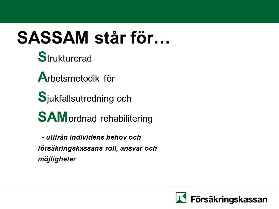 SASSAM står för… S trukturerad A rbetsmetodik för S jukfallsutredning och SAM ordnad rehabilitering - utifrån individens behov och försäkringskassans roll, ansvar och möjligheter